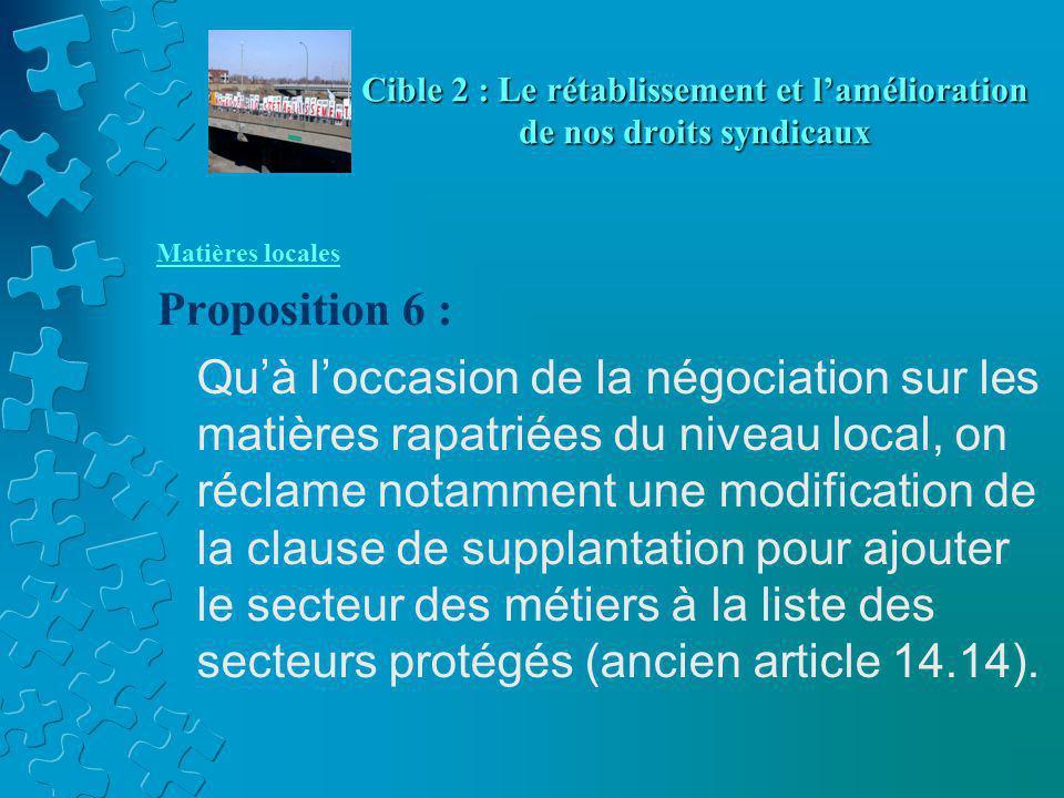 Matières locales Proposition 6 : Qu'à l'occasion de la négociation sur les matières rapatriées du niveau local, on réclame notamment une modification de la clause de supplantation pour ajouter le secteur des métiers à la liste des secteurs protégés (ancien article 14.14).