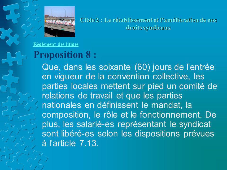 Règlement des litiges Proposition 8 : Que, dans les soixante (60) jours de l'entrée en vigueur de la convention collective, les parties locales mettent sur pied un comité de relations de travail et que les parties nationales en définissent le mandat, la composition, le rôle et le fonctionnement.