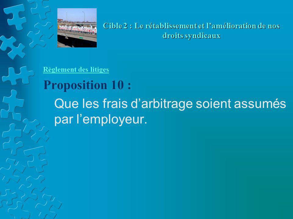 Règlement des litiges Proposition 10 : Que les frais d'arbitrage soient assumés par l'employeur. Cible 2 : Le rétablissement et l'amélioration de nos