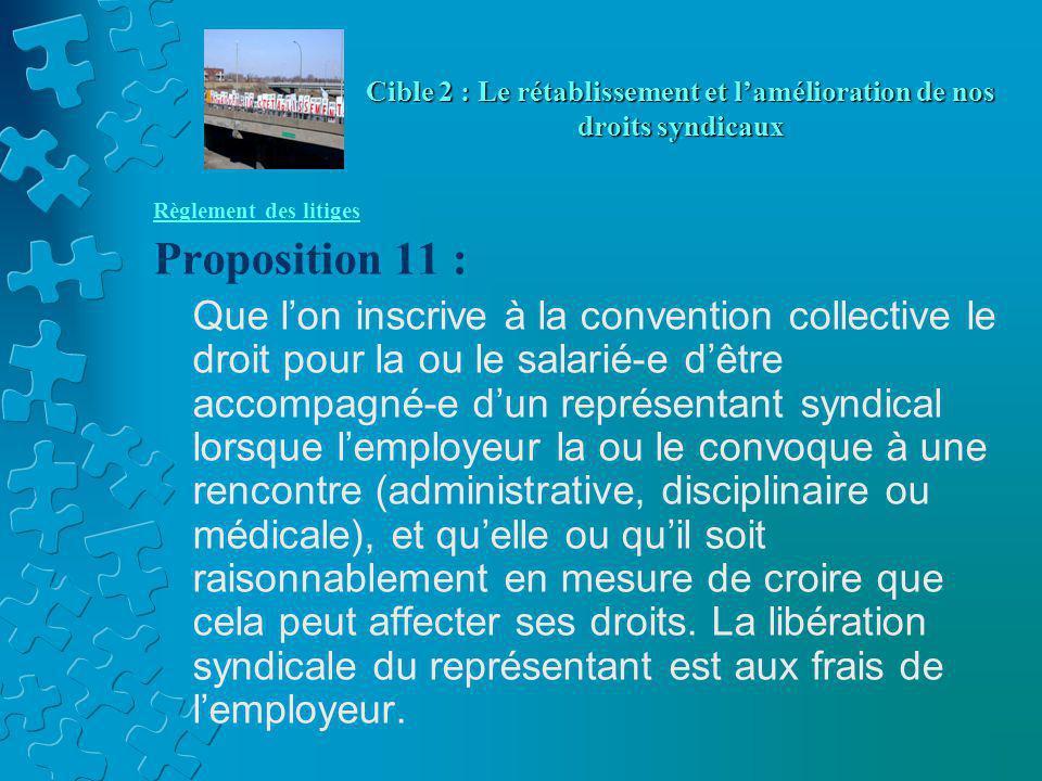 Règlement des litiges Proposition 11 : Que l'on inscrive à la convention collective le droit pour la ou le salarié-e d'être accompagné-e d'un représen