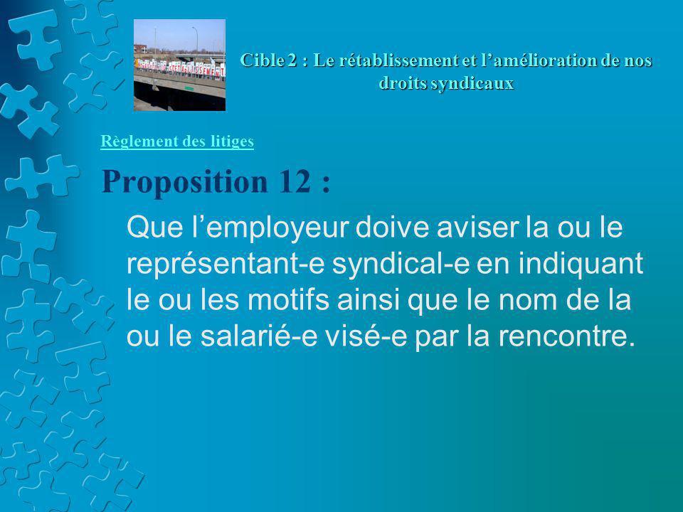 Règlement des litiges Proposition 12 : Que l'employeur doive aviser la ou le représentant-e syndical-e en indiquant le ou les motifs ainsi que le nom de la ou le salarié-e visé-e par la rencontre.