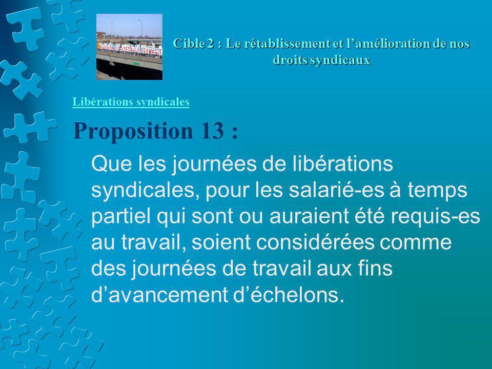 Libérations syndicales Proposition 13 : Que les journées de libérations syndicales, pour les salarié-es à temps partiel qui sont ou auraient été requis-es au travail, soient considérées comme des journées de travail aux fins d'avancement d'échelons.
