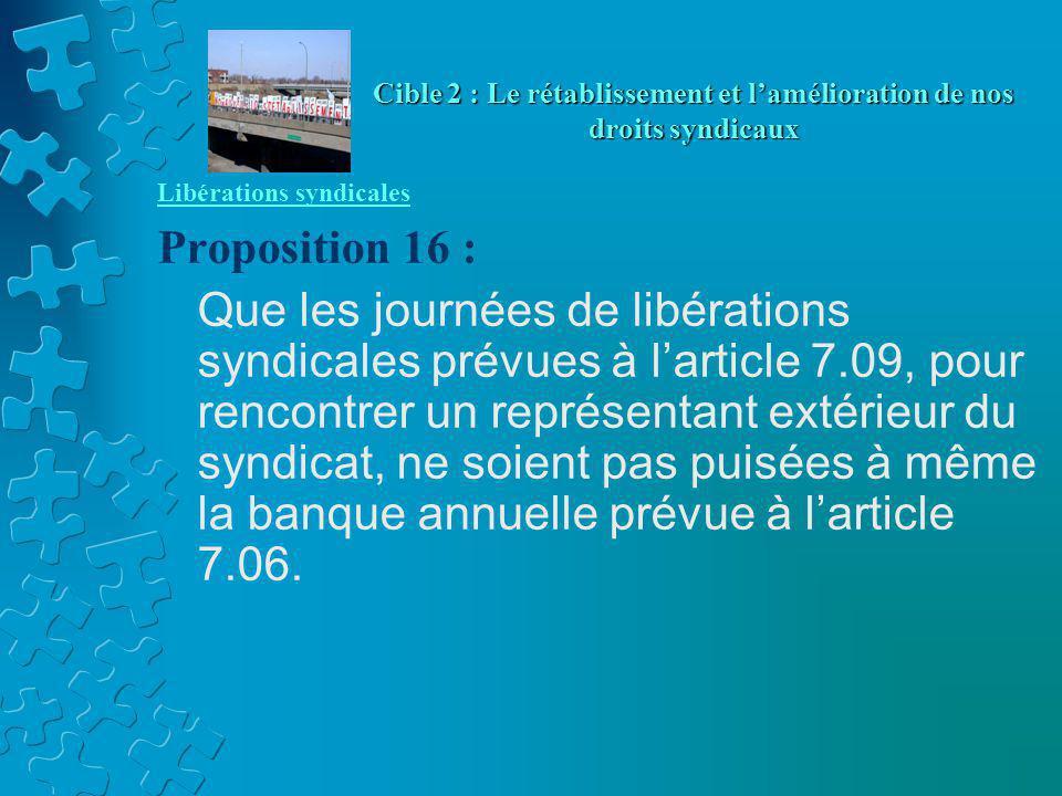 Libérations syndicales Proposition 16 : Que les journées de libérations syndicales prévues à l'article 7.09, pour rencontrer un représentant extérieur du syndicat, ne soient pas puisées à même la banque annuelle prévue à l'article 7.06.