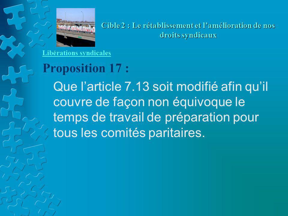 Libérations syndicales Proposition 17 : Que l'article 7.13 soit modifié afin qu'il couvre de façon non équivoque le temps de travail de préparation pour tous les comités paritaires.