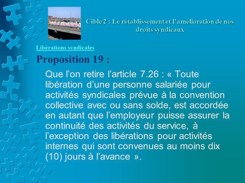 Libérations syndicales Proposition 19 : Que l'on retire l'article 7.26 : « Toute libération d'une personne salariée pour activités syndicales prévue à