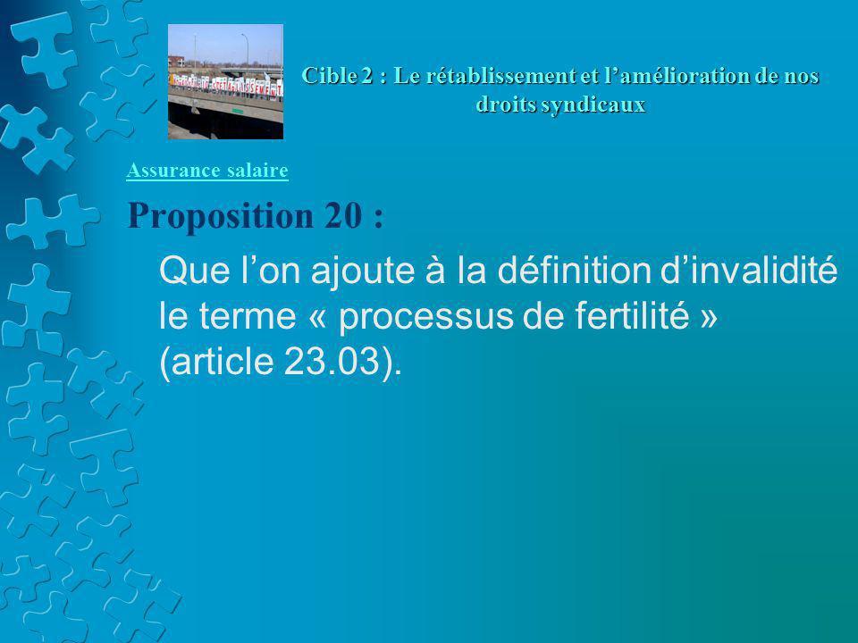 Assurance salaire Proposition 20 : Que l'on ajoute à la définition d'invalidité le terme « processus de fertilité » (article 23.03). Cible 2 : Le réta