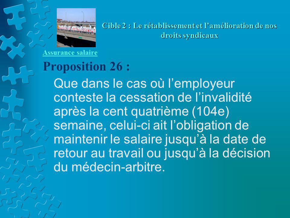 Assurance salaire Proposition 26 : Que dans le cas où l'employeur conteste la cessation de l'invalidité après la cent quatrième (104e) semaine, celui-ci ait l'obligation de maintenir le salaire jusqu'à la date de retour au travail ou jusqu'à la décision du médecin-arbitre.