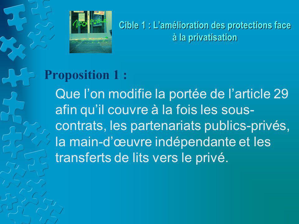 Proposition 1 : Que l'on modifie la portée de l'article 29 afin qu'il couvre à la fois les sous- contrats, les partenariats publics-privés, la main-d'œuvre indépendante et les transferts de lits vers le privé.