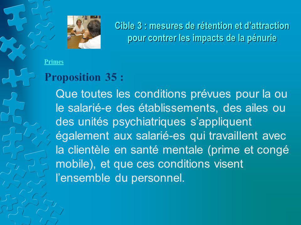 Primes Proposition 35 : Que toutes les conditions prévues pour la ou le salarié-e des établissements, des ailes ou des unités psychiatriques s'appliquent également aux salarié-es qui travaillent avec la clientèle en santé mentale (prime et congé mobile), et que ces conditions visent l'ensemble du personnel.