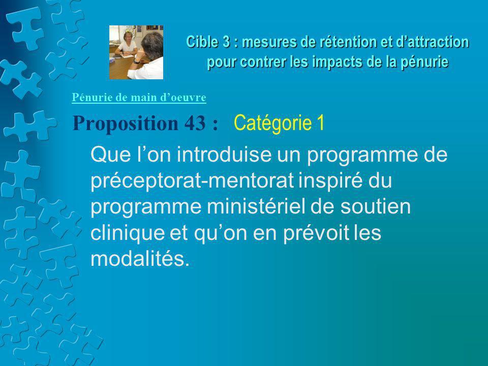 Pénurie de main d'oeuvre Proposition 43 : Que l'on introduise un programme de préceptorat-mentorat inspiré du programme ministériel de soutien clinique et qu'on en prévoit les modalités.