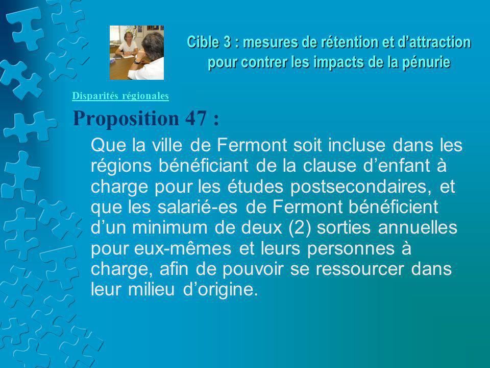 Disparités régionales Proposition 47 : Que la ville de Fermont soit incluse dans les régions bénéficiant de la clause d'enfant à charge pour les étude