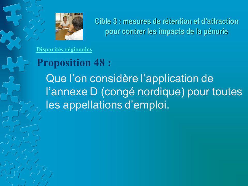Disparités régionales Proposition 48 : Que l'on considère l'application de l'annexe D (congé nordique) pour toutes les appellations d'emploi. Cible 3