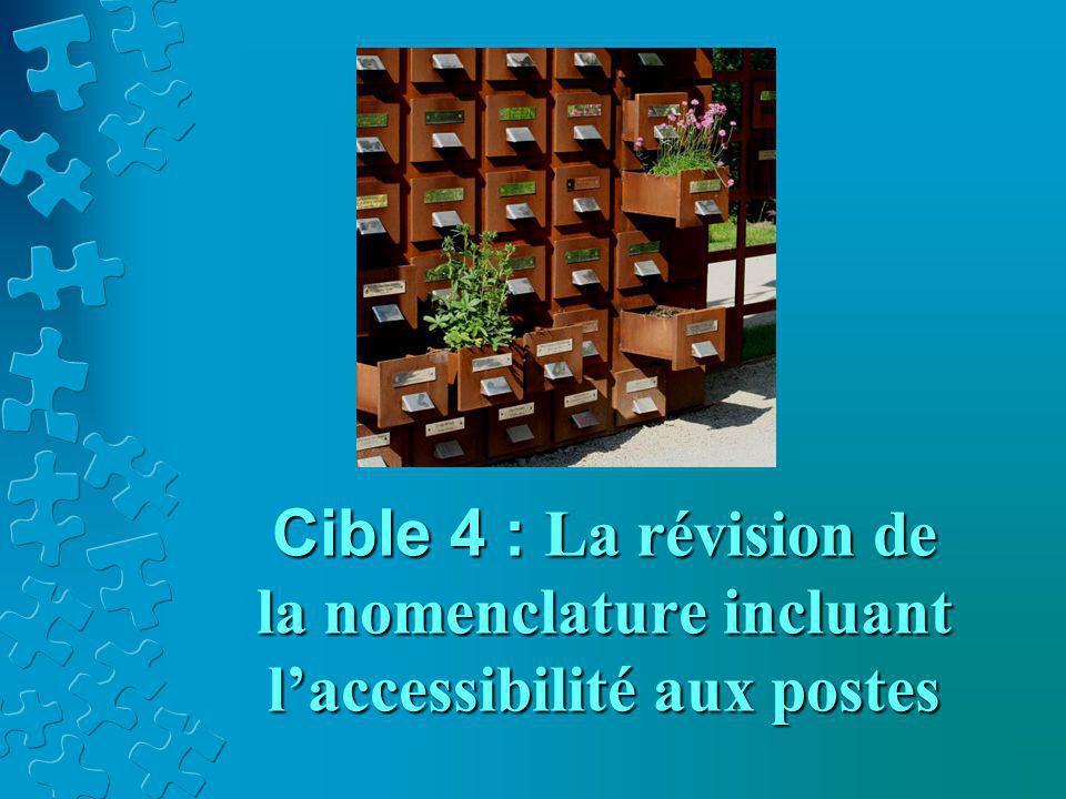 Cible 4 : La révision de la nomenclature incluant l'accessibilité aux postes
