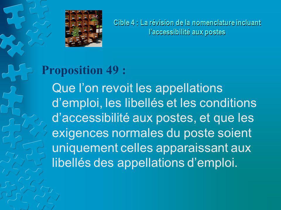 Proposition 49 : Que l'on revoit les appellations d'emploi, les libellés et les conditions d'accessibilité aux postes, et que les exigences normales du poste soient uniquement celles apparaissant aux libellés des appellations d'emploi.