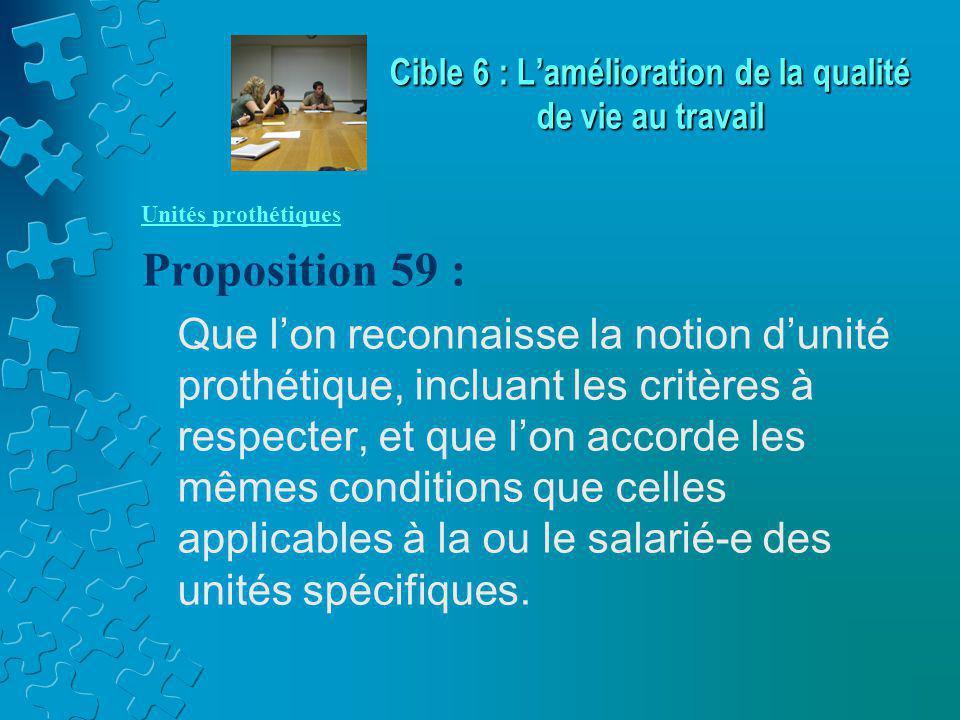 Unités prothétiques Proposition 59 : Que l'on reconnaisse la notion d'unité prothétique, incluant les critères à respecter, et que l'on accorde les mêmes conditions que celles applicables à la ou le salarié-e des unités spécifiques.