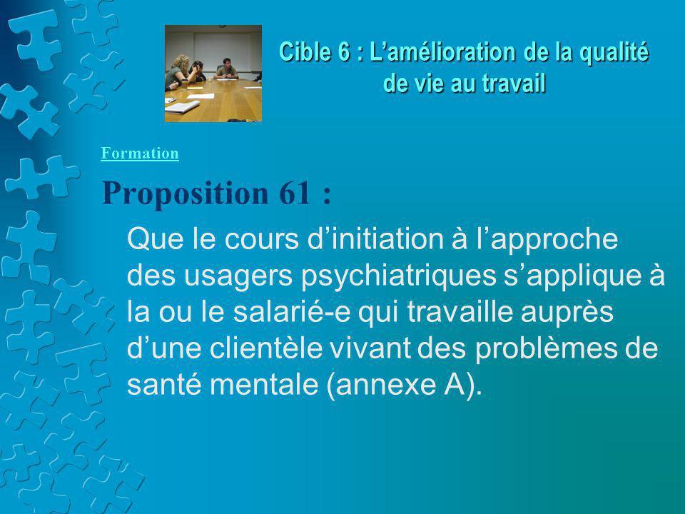 Formation Proposition 61 : Que le cours d'initiation à l'approche des usagers psychiatriques s'applique à la ou le salarié-e qui travaille auprès d'une clientèle vivant des problèmes de santé mentale (annexe A).