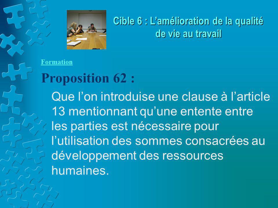 Formation Proposition 62 : Que l'on introduise une clause à l'article 13 mentionnant qu'une entente entre les parties est nécessaire pour l'utilisation des sommes consacrées au développement des ressources humaines.