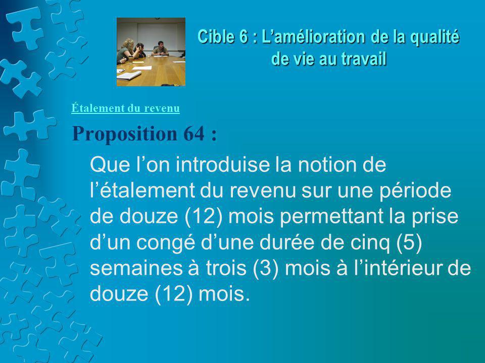 Étalement du revenu Proposition 64 : Que l'on introduise la notion de l'étalement du revenu sur une période de douze (12) mois permettant la prise d'un congé d'une durée de cinq (5) semaines à trois (3) mois à l'intérieur de douze (12) mois.