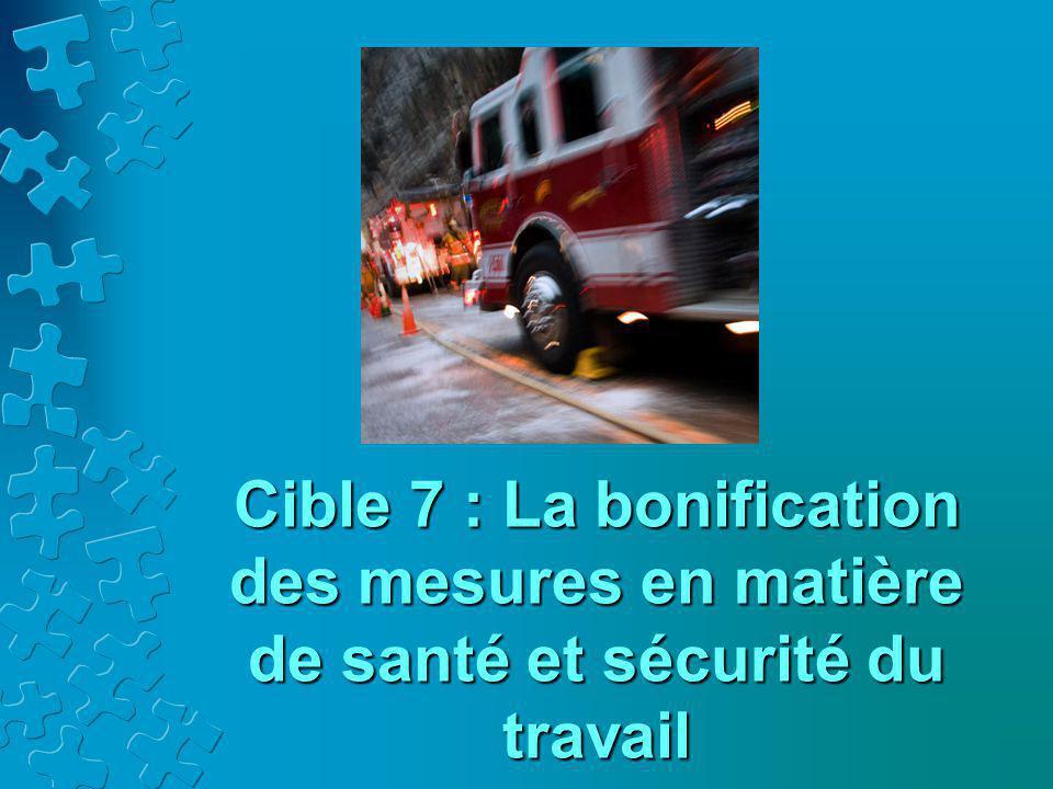 Cible 7 : La bonification des mesures en matière de santé et sécurité du travail