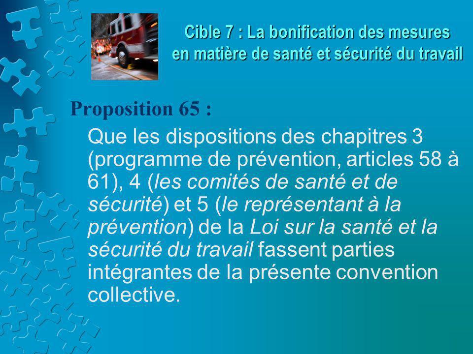 Proposition 65 : Que les dispositions des chapitres 3 (programme de prévention, articles 58 à 61), 4 (les comités de santé et de sécurité) et 5 (le représentant à la prévention) de la Loi sur la santé et la sécurité du travail fassent parties intégrantes de la présente convention collective.