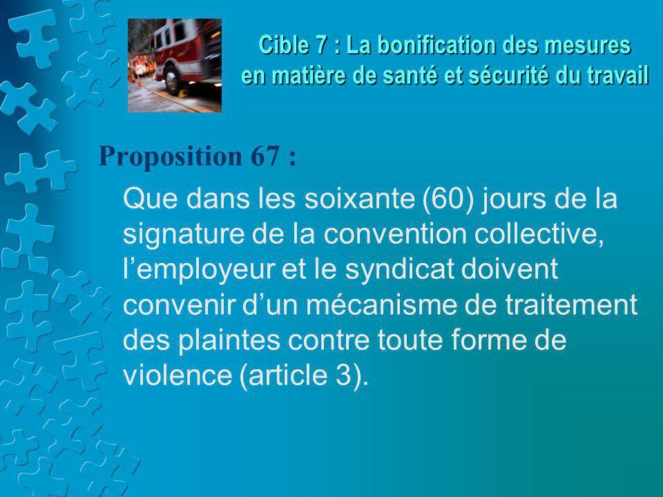 Proposition 67 : Que dans les soixante (60) jours de la signature de la convention collective, l'employeur et le syndicat doivent convenir d'un mécanisme de traitement des plaintes contre toute forme de violence (article 3).