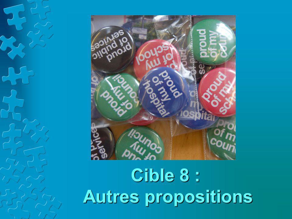 Cible 8 : Autres propositions