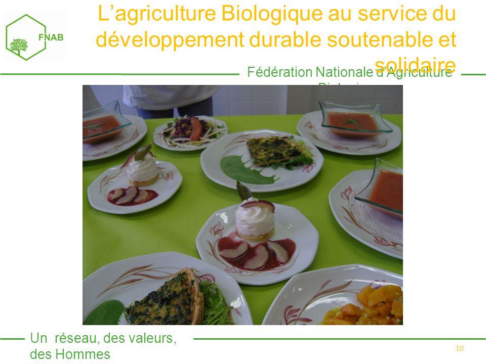 Fédération Nationale d'Agriculture Biologique Un réseau, des valeurs, des Hommes 10 L'agriculture Biologique au service du développement durable soutenable et solidaire