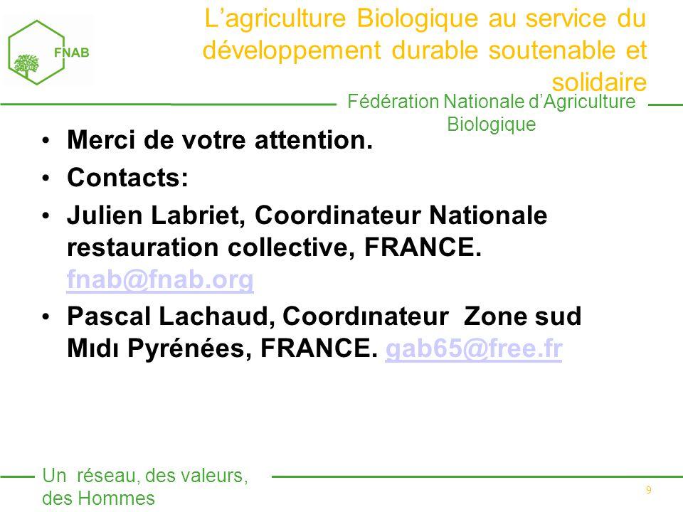 Fédération Nationale d'Agriculture Biologique Un réseau, des valeurs, des Hommes 9 L'agriculture Biologique au service du développement durable soutenable et solidaire Merci de votre attention.