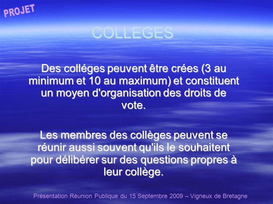 Présentation Réunion Publique du 15 Septembre 2009 – Vigneux de Bretagne COLLEGES Des colléges peuvent être crées (3 au minimum et 10 au maximum) et constituent un moyen d organisation des droits de vote.