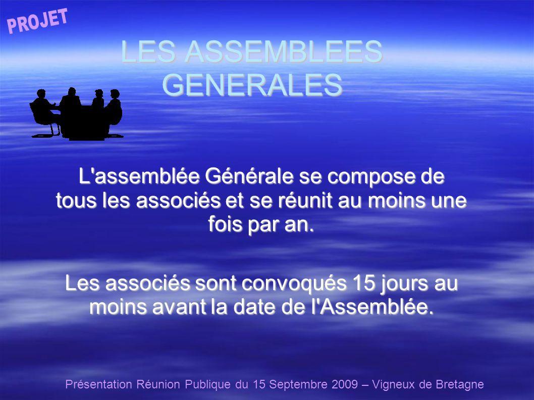 Présentation Réunion Publique du 15 Septembre 2009 – Vigneux de Bretagne LES ASSEMBLEES GENERALES L assemblée Générale se compose de tous les associés et se réunit au moins une fois par an.