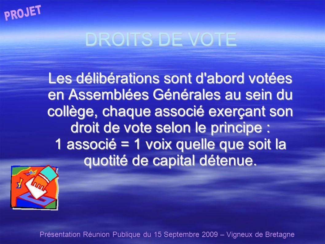 Présentation Réunion Publique du 15 Septembre 2009 – Vigneux de Bretagne DROITS DE VOTE Les délibérations sont d abord votées en Assemblées Générales au sein du collège, chaque associé exerçant son droit de vote selon le principe : 1 associé = 1 voix quelle que soit la quotité de capital détenue.