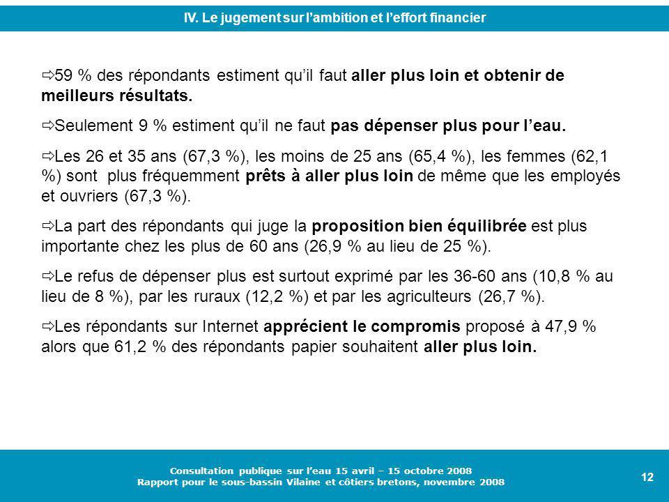 12 Consultation publique sur l'eau 15 avril – 15 octobre 2008 Rapport pour le sous-bassin Vilaine et côtiers bretons, novembre 2008 IV.