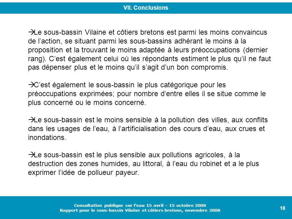 18 Consultation publique sur l'eau 15 avril – 15 octobre 2008 Rapport pour le sous-bassin Vilaine et côtiers bretons, novembre 2008  Le sous-bassin Vilaine et côtiers bretons est parmi les moins convaincus de l'action, se situant parmi les sous-bassins adhérant le moins à la proposition et la trouvant le moins adaptée à leurs préoccupations (dernier rang).
