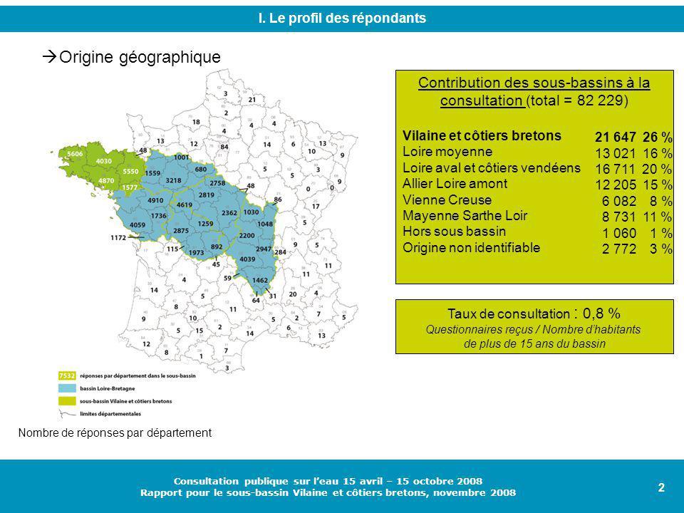 2 Consultation publique sur l'eau 15 avril – 15 octobre 2008 Rapport pour le sous-bassin Vilaine et côtiers bretons, novembre 2008 I.