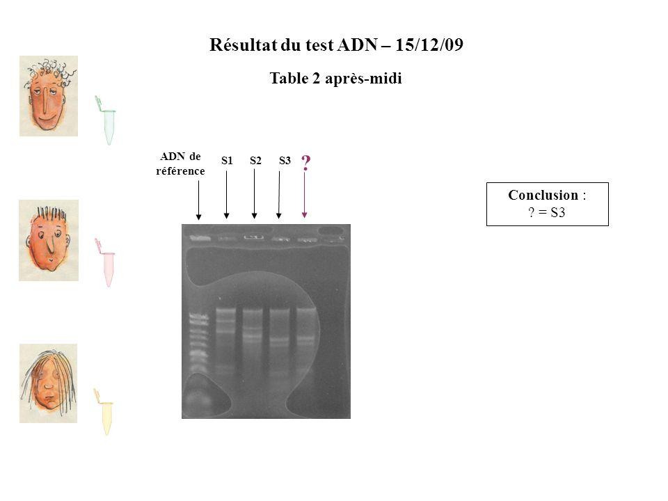 Résultat du test ADN – 15/12/09 Table 2 après-midi ADN de référence S2S1S3 ? Conclusion : ? = S3