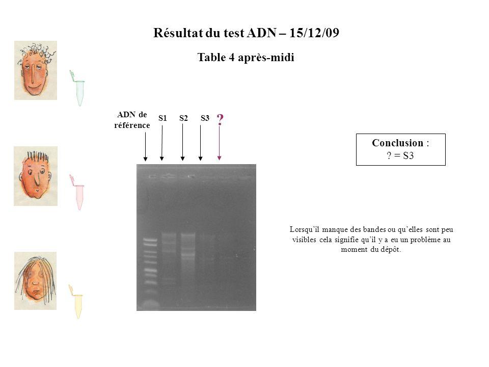 Résultat du test ADN – 15/12/09 Table 4 après-midi ADN de référence S2S1S3 ? Conclusion : ? = S3 Lorsqu'il manque des bandes ou qu'elles sont peu visi