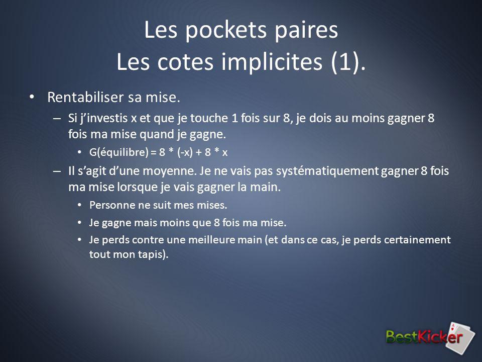 Les pockets paires Les cotes implicites (1). Rentabiliser sa mise.