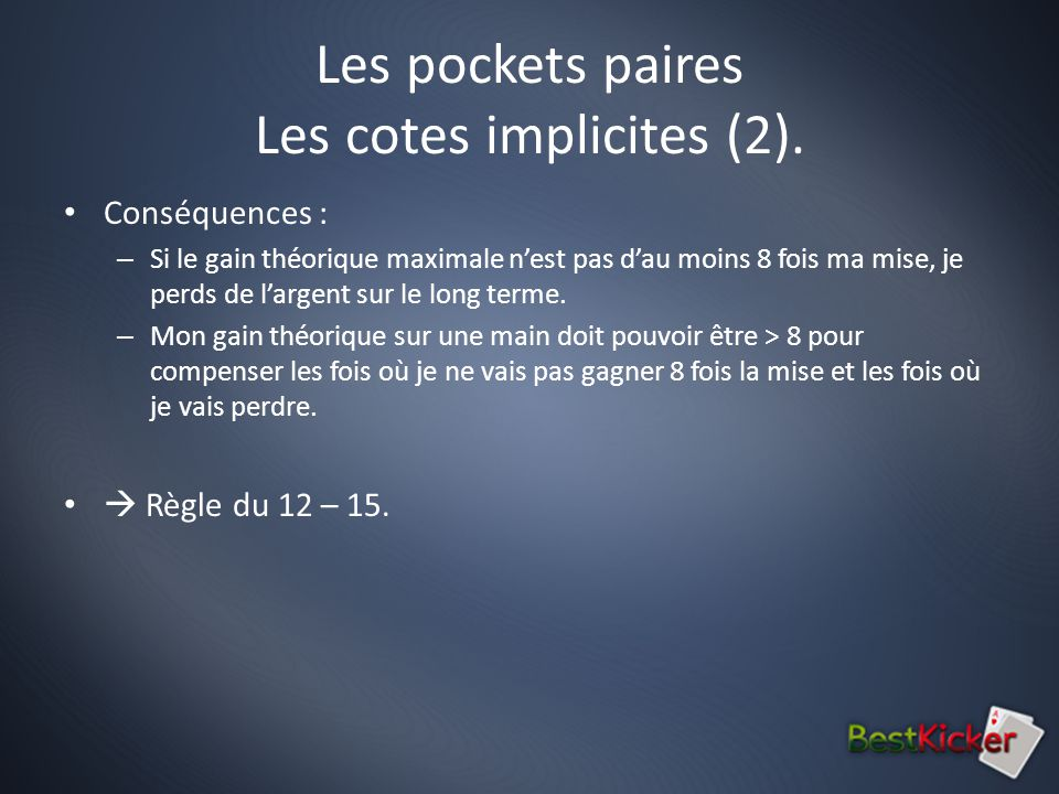 Les pockets paires Les cotes implicites (2).