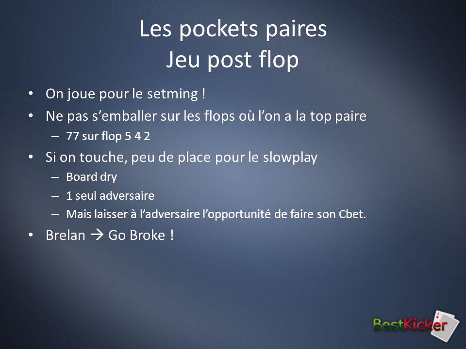 Les pockets paires Jeu post flop On joue pour le setming .