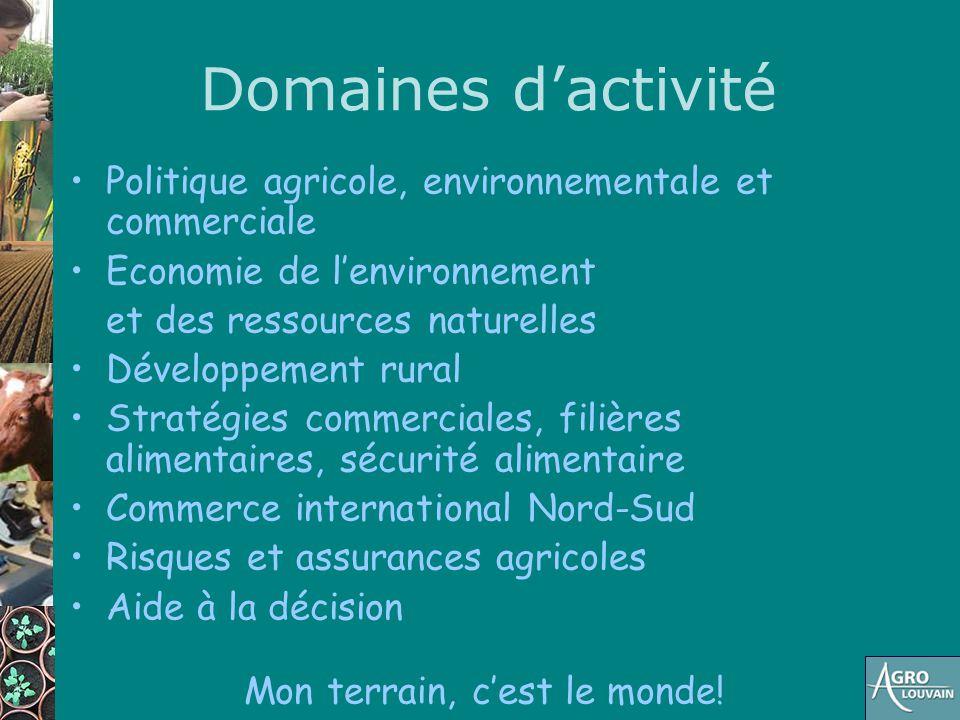 Domaines d'activité Politique agricole, environnementale et commerciale Economie de l'environnement et des ressources naturelles Développement rural S