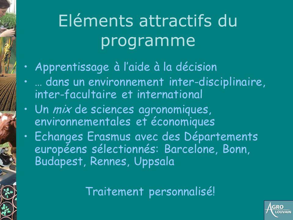 Eléments attractifs du programme Apprentissage à l'aide à la décision … dans un environnement inter-disciplinaire, inter-facultaire et international U