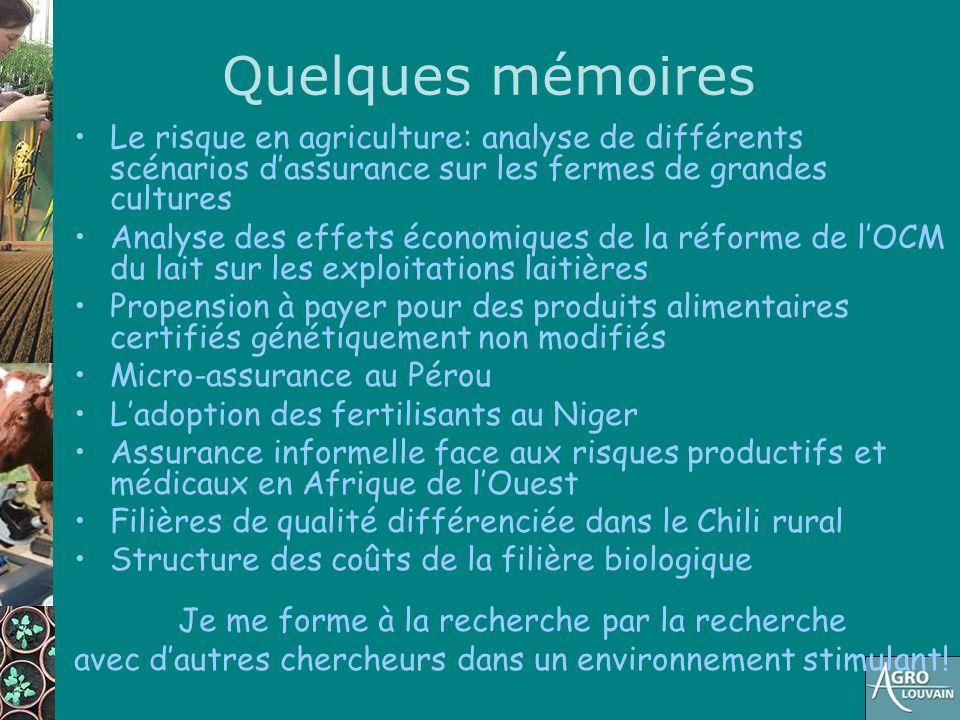 Quelques mémoires Le risque en agriculture: analyse de différents scénarios d'assurance sur les fermes de grandes cultures Analyse des effets économiq