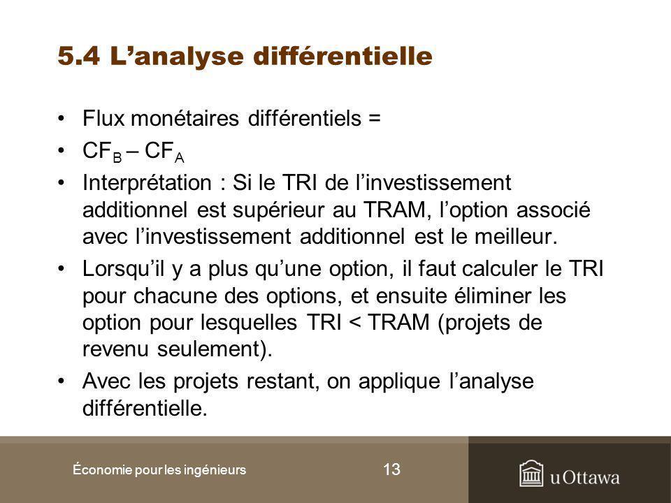 13 5.4 L'analyse différentielle Flux monétaires différentiels = CF B – CF A Interprétation : Si le TRI de l'investissement additionnel est supérieur au TRAM, l'option associé avec l'investissement additionnel est le meilleur.