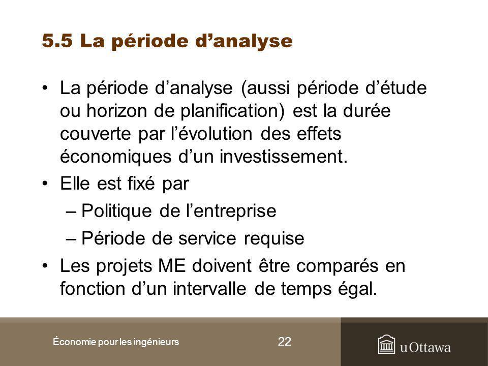 22 5.5 La période d'analyse La période d'analyse (aussi période d'étude ou horizon de planification) est la durée couverte par l'évolution des effets économiques d'un investissement.