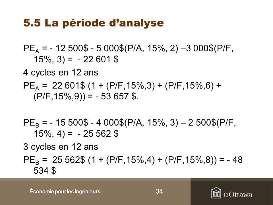 34 5.5 La période d'analyse PE A = - 12 500$ - 5 000$(P/A, 15%, 2) –3 000$(P/F, 15%, 3) = - 22 601 $ 4 cycles en 12 ans PE A = 22 601$ (1 + (P/F,15%,3) + (P/F,15%,6) + (P/F,15%,9)) = - 53 657 $.