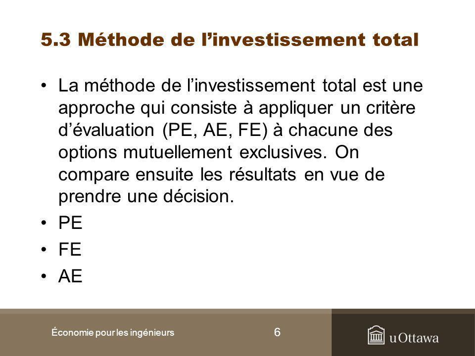 6 5.3 Méthode de l'investissement total La méthode de l'investissement total est une approche qui consiste à appliquer un critère d'évaluation (PE, AE, FE) à chacune des options mutuellement exclusives.