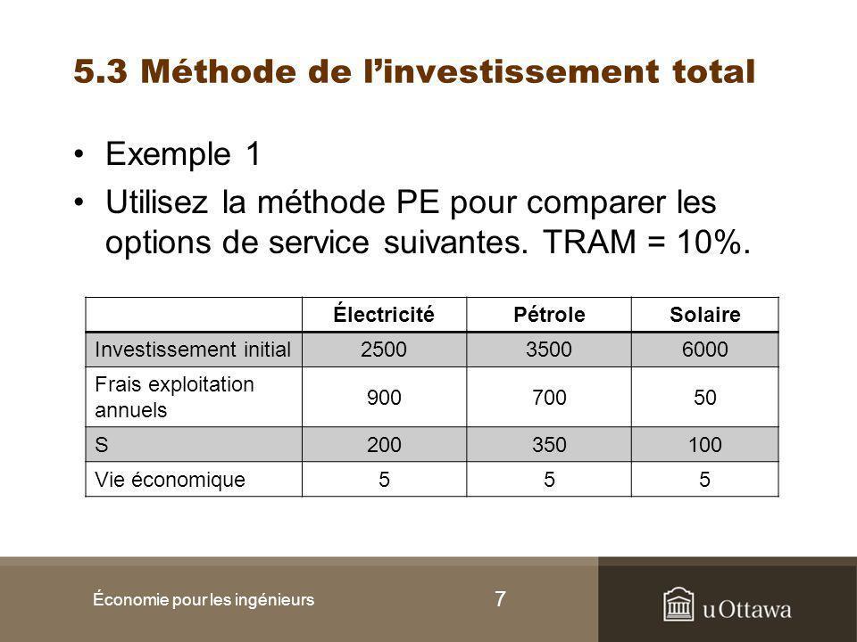 7 5.3 Méthode de l'investissement total Exemple 1 Utilisez la méthode PE pour comparer les options de service suivantes.