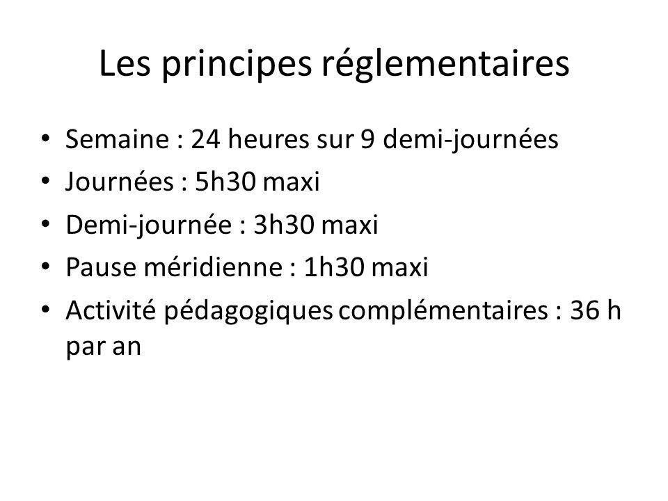 Les principes réglementaires Semaine : 24 heures sur 9 demi-journées Journées : 5h30 maxi Demi-journée : 3h30 maxi Pause méridienne : 1h30 maxi Activité pédagogiques complémentaires : 36 h par an