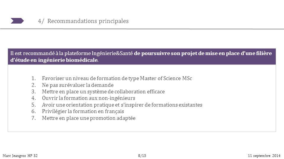 4/ Recommandations principales Marc Jeangros HP 3211 septembre 20148/15 1.Favoriser un niveau de formation de type Master of Science MSc 2.Ne pas suré