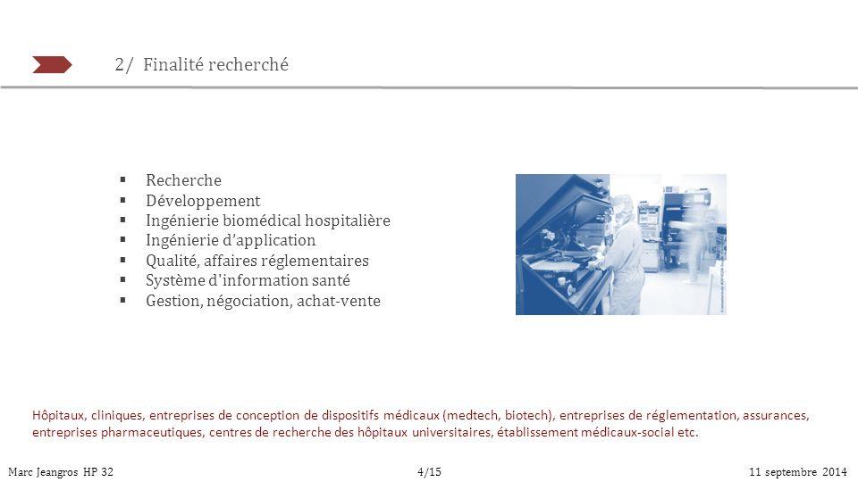 2/ Finalité recherché Marc Jeangros HP 3211 septembre 20144/15  Recherche  Développement  Ingénierie biomédical hospitalière  Ingénierie d'applica